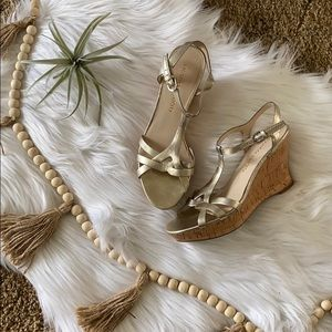 NWOB Franco Sarto gold metallic wedge sandal heels